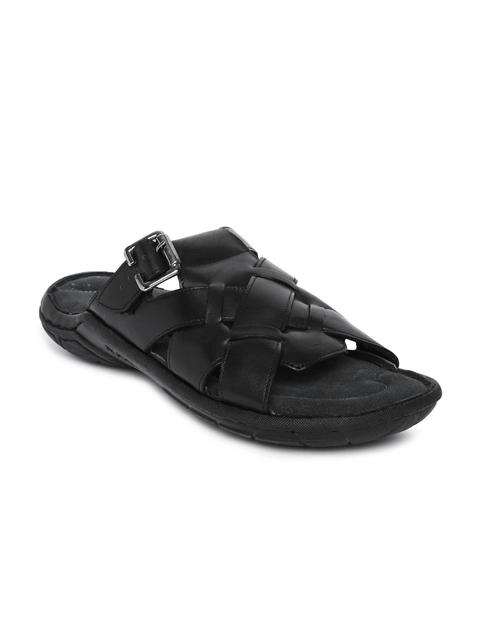 Ruosh Men Black Leather Comfort Sandals