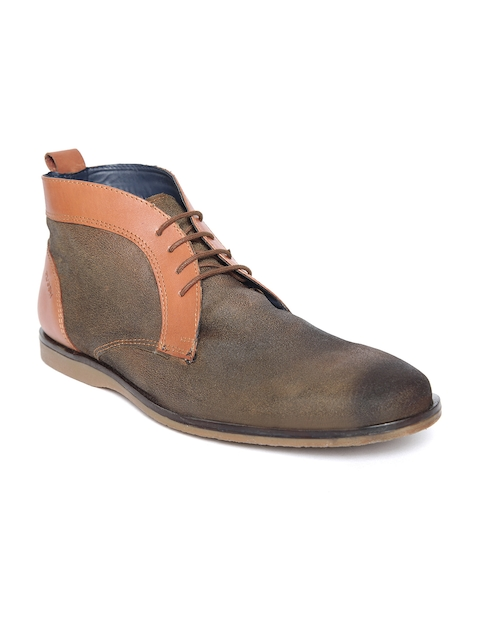 Ruosh Men Brown Colourblocked Leather Mid-Top Flat Boots