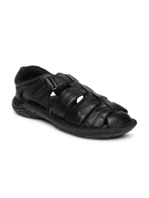 Ruosh Men Black Leather Shoe-Style Sandals