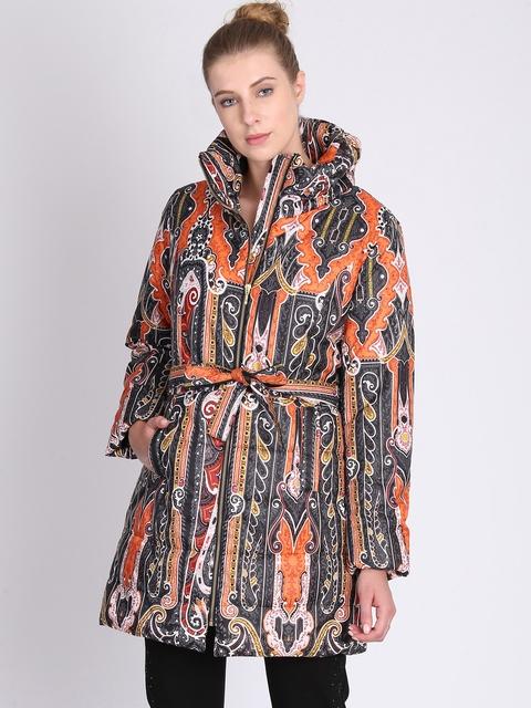 NIZA Women Orange & Blue Printed Padded Jacket