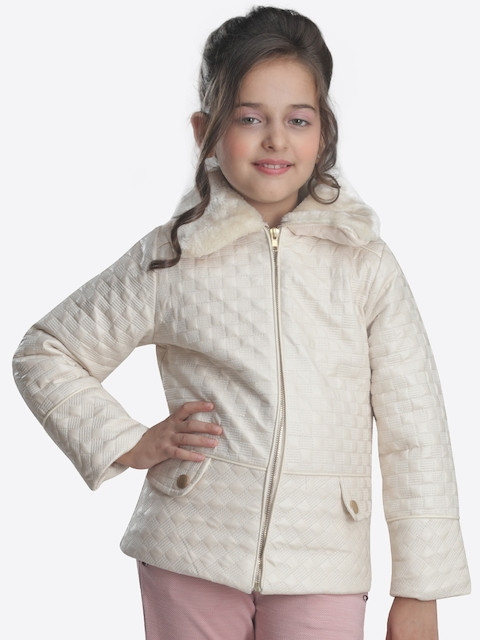 CUTECUMBER Girls Beige Self Design Parka