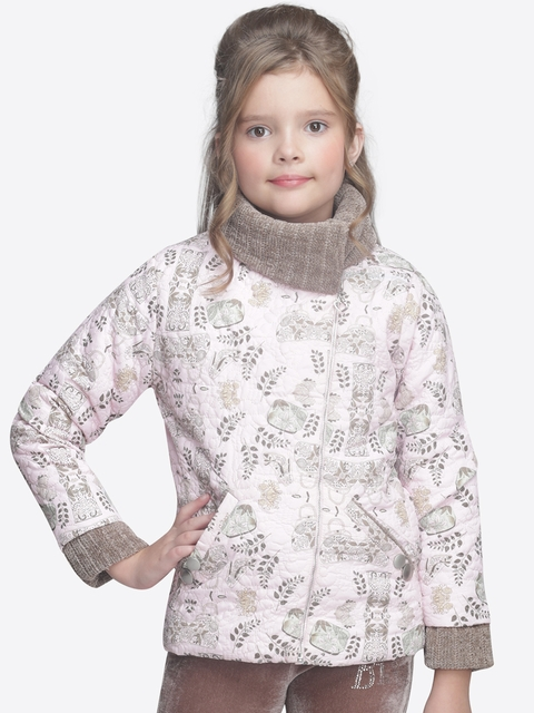 CUTECUMBER Girls Pink Printed Quilted Jacket