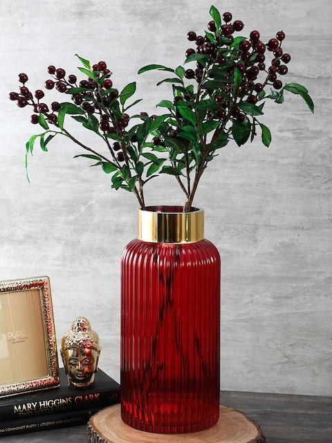 Pure Home and Living Red Large Classic Vase with Golden Rim