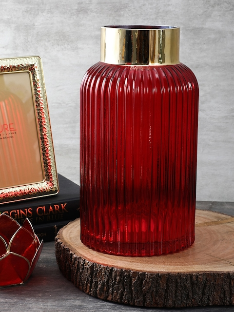 Pure Home and Living Red Small Classic Vase with Golden Rim