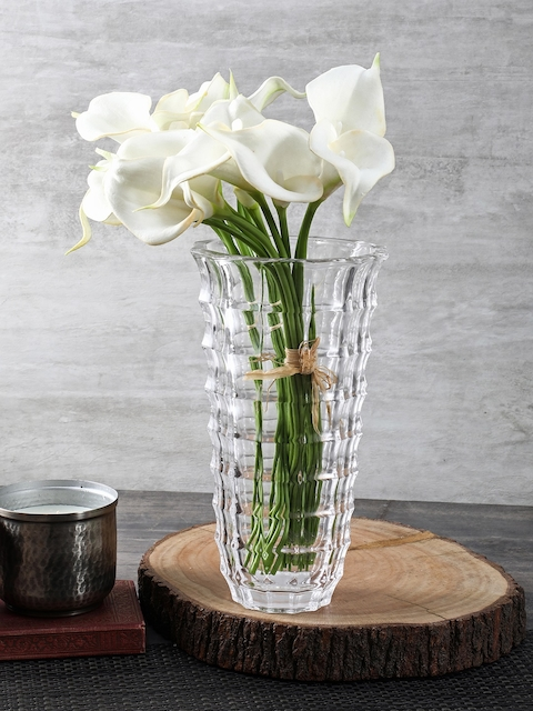 Pure Home and Living Transparent Small Checkered Vase