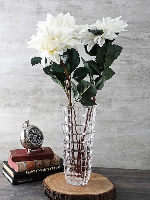 Pure Home and Living Transparent Large Checkered Vase