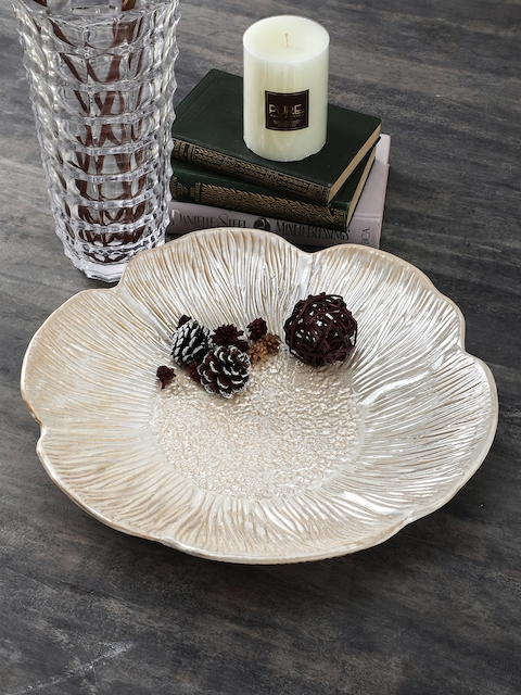 Pure Home and Living Off-White Textured Decorative Platter