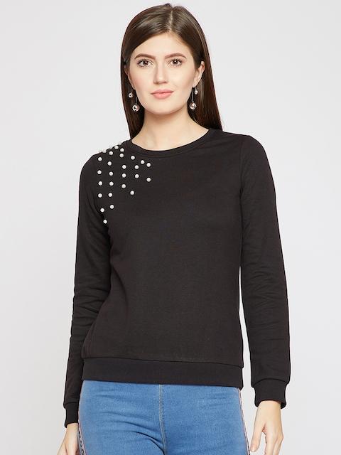 RARE Women Black Solid Sweatshirt
