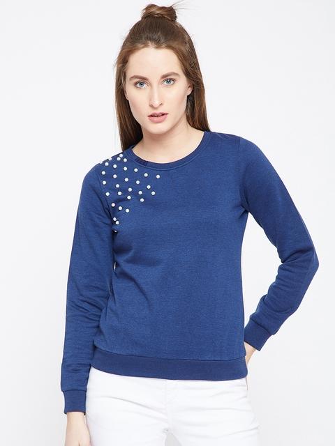 RARE Women Navy Blue Solid Sweatshirt