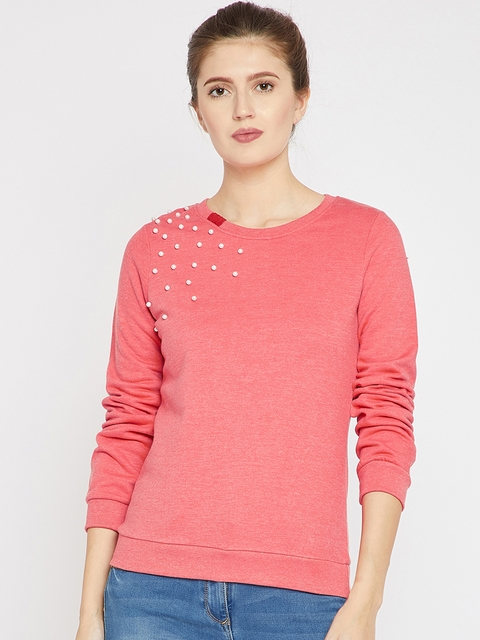 RARE Women Coral Solid Sweatshirt