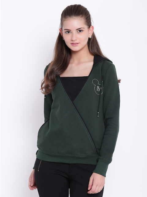 Texco Women Green Solid Hooded Sweatshirt