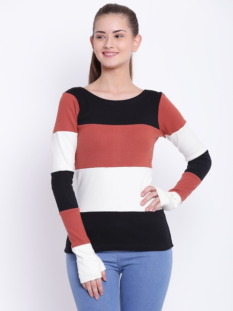 Texco Women Black & White Colourblocked Sweatshirt