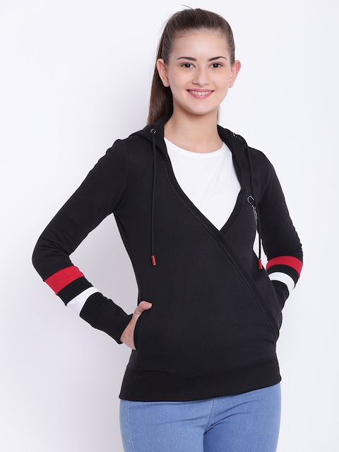 Texco Women Black Solid Hooded Sweatshirt
