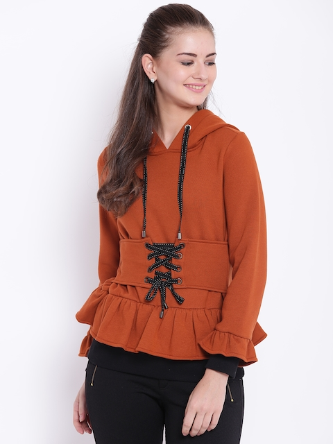 Texco Women Rust & Black Solid Hooded Sweatshirt