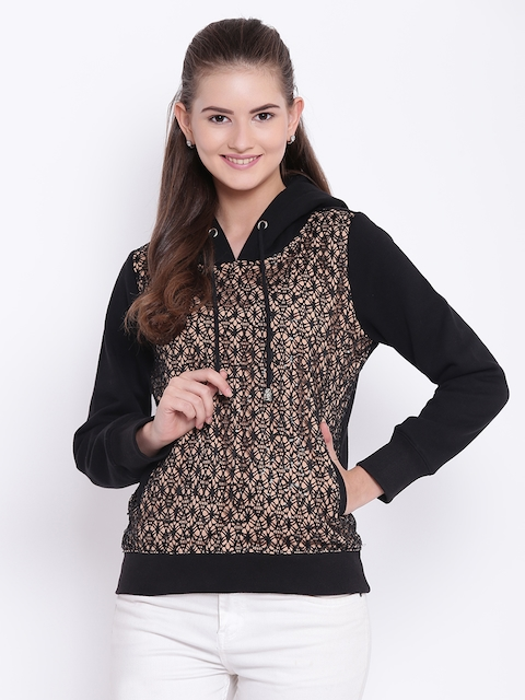 Texco Women Beige & Black Embellished Hooded Sweatshirt