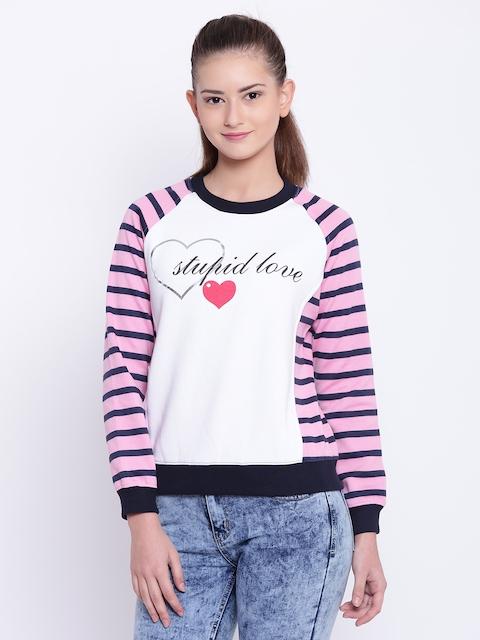 Texco Women Pink & White Striped Sweatshirt