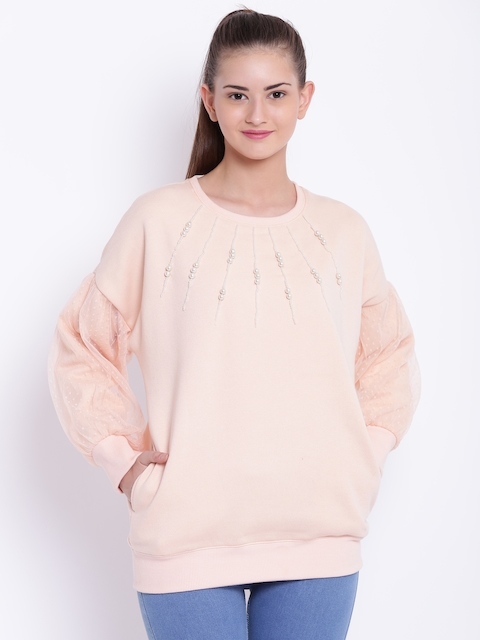 Texco Women Peach-Coloured Self Design Sweatshirt