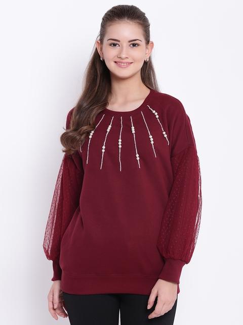 Texco Women Maroon Self Design Sweatshirt