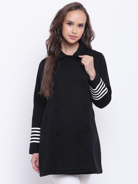 Texco Women Black Fleece Double Breasted Overcoat