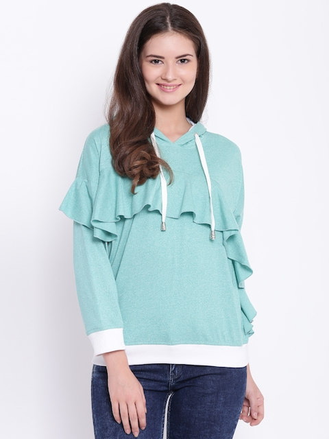 Texco Women Green Hooded Ruffled Sweatshirt