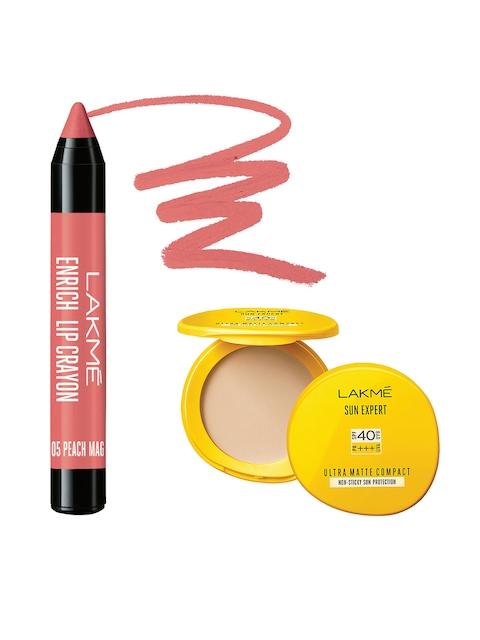 Lakme Sun Expert Ultra Matte SPF 40 Matte Compact & Peach Magnet Enrich Lip Crayon