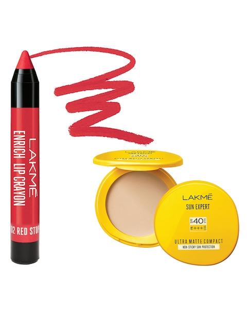 Lakme Sun Expert Ultra Matte SPF 40 PA+++ Compact & Red Stop Lip Crayon