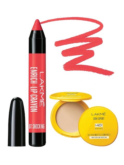 Lakme Set of Sun Expert Ultra Matte Compact & Shocking Enrich Lip Crayon