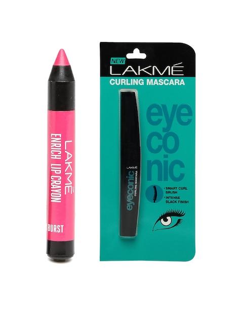 Lakme Pink Burst Enrich Lip Crayon & Eyeconic Curling Mascara