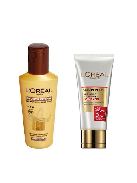 LOreal Paris Smooth Smoothing Serum 100 ml & Anti-Aging Plus Whitening Facial Foam
