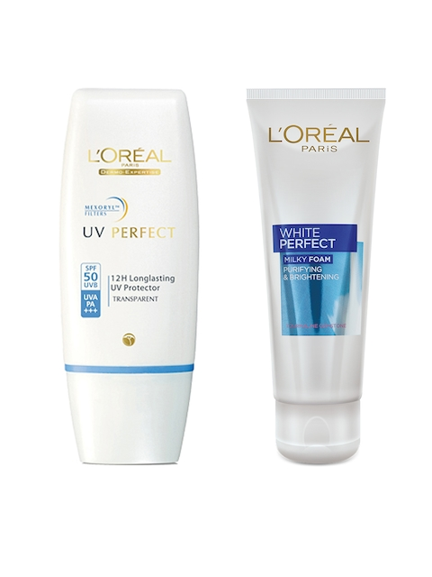 LOreal Paris Sunscreen with SPF 50 & LOreal Paris White Perfect Milky Foam Face Wash