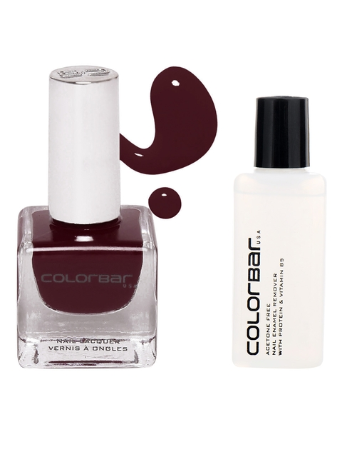 Colorbar Acetone Free Nail Enamel Remover & Vamp Luxe Nail Lacquer
