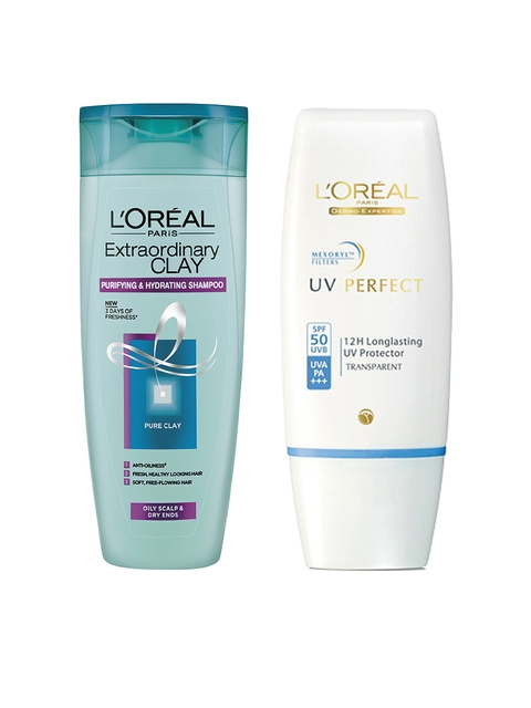 LOreal Set of Non-Tinted Sunscreen & Clay Shampoo