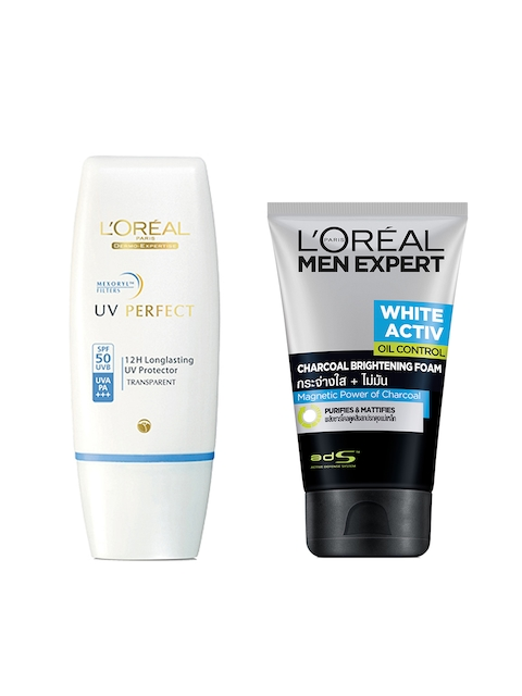 LOreal Paris Set of Men Anti-Spots Oil Control Charcoal Foam & UV Perfect SPF 50 Sunscreen