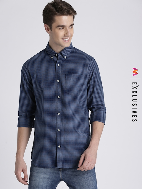 GAP Men Blue Slim Fit Checked Casual Shirt