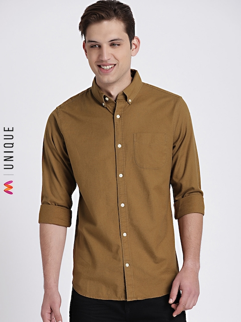 GAP Men Camel Brown Slim Fit Solid Casual Shirt
