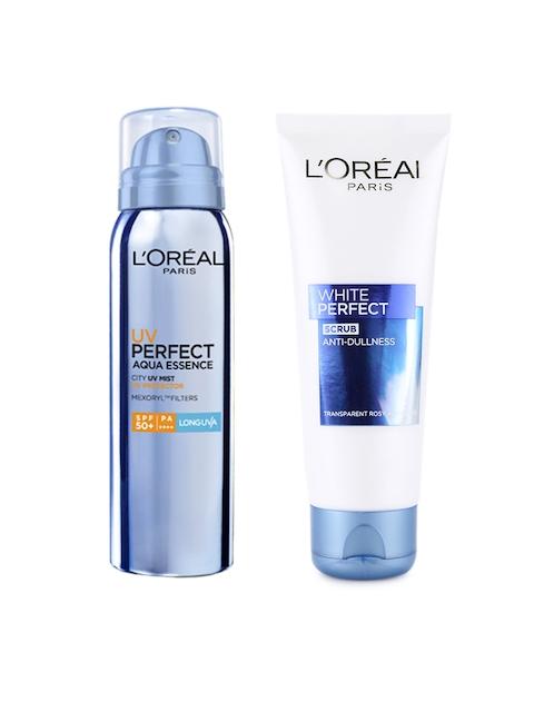 LOreal Paris White Perfect Scrub & UV Perfect Aqua Essence City UV Mist Sunscreen