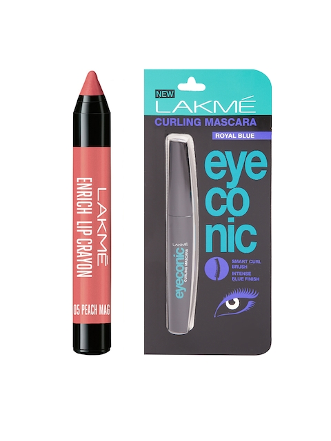 Lakme Peach Magnet Enrich Lip Crayon & Eyeconic Royal Blue Curling Mascara