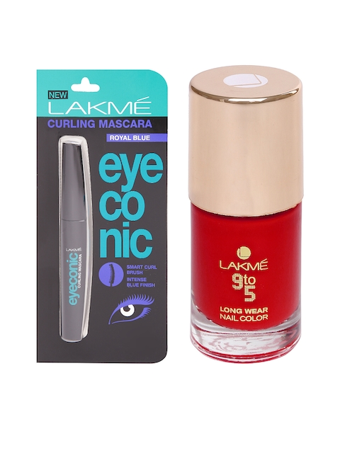 Lakme Eyeconic Royal Blue Curling Mascara & Lakme 9to5 Long Wear Red Boss Nail Polish