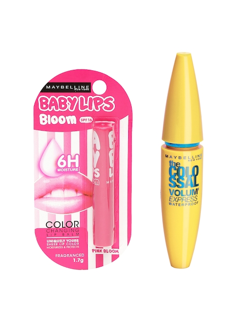 Maybelline Pink Bloom Lip Balm & Black Volume Express Colossal Mascara