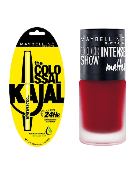 Maybelline New York Black Colossal Kajal & Color Show Deep Coral Intense Matte Nail Colour