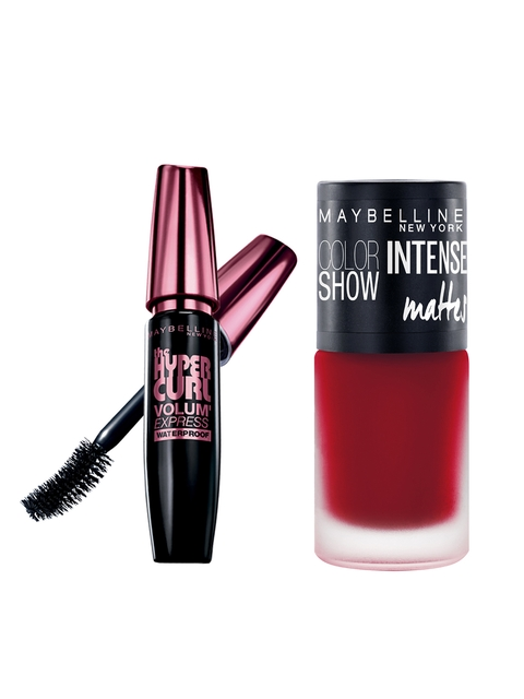 Maybelline Hypercurl Black Waterproof Mascara & Deep Coral Intense Matte Nail Colour