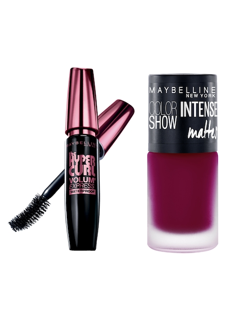 Maybelline Hypercurl Black Waterproof Mascara & Passionate Plum Intense Nail Colour