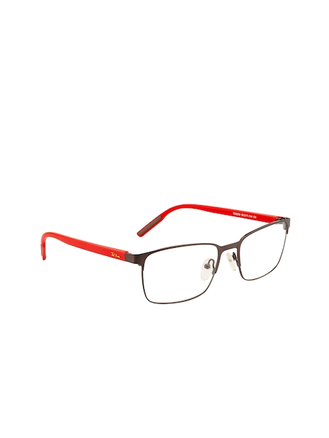 Ted Smith Unisex Grey & Red Solid Full Rim Wayfarer Frames TSM9039_C4