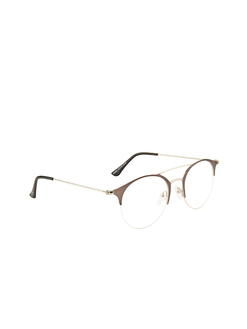 Ted Smith Unisex Grey Solid Half Rim Aviator Frames TSM0004_C2
