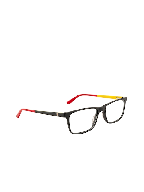 Ted Smith Unisex Black & Red Solid Full Rim Wayfarer Frames TS-HY-223_C1