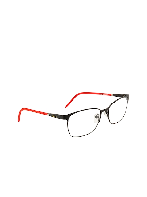 Ted Smith Unisex Black & Red Solid Full Rim Browline Frames TSM9034_C1