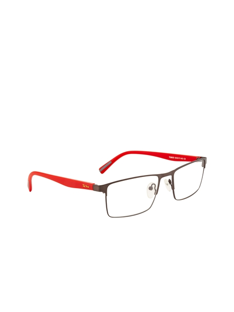Ted Smith Unisex Grey & Red Solid Full Rim Wayfarer Frames TSM9033_C3