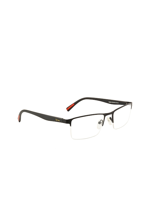 Ted Smith Unisex Black Solid Half Rim Wayfarer Frames TSM9032_C5