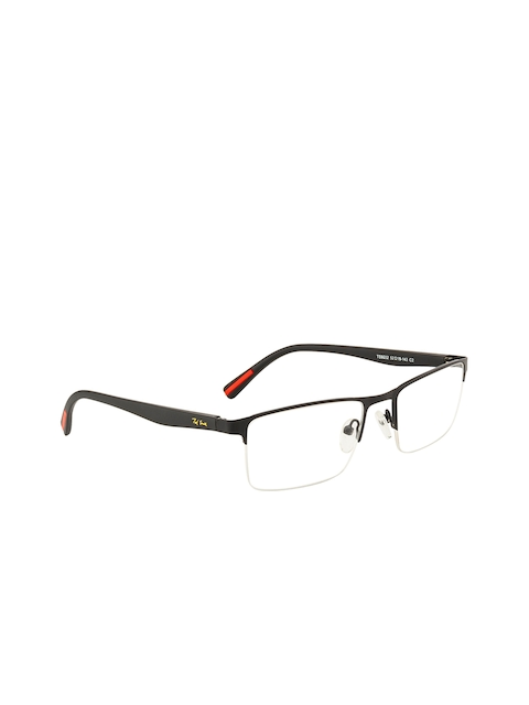 Ted Smith Unisex Black Solid Half Rim Wayfarer Frames