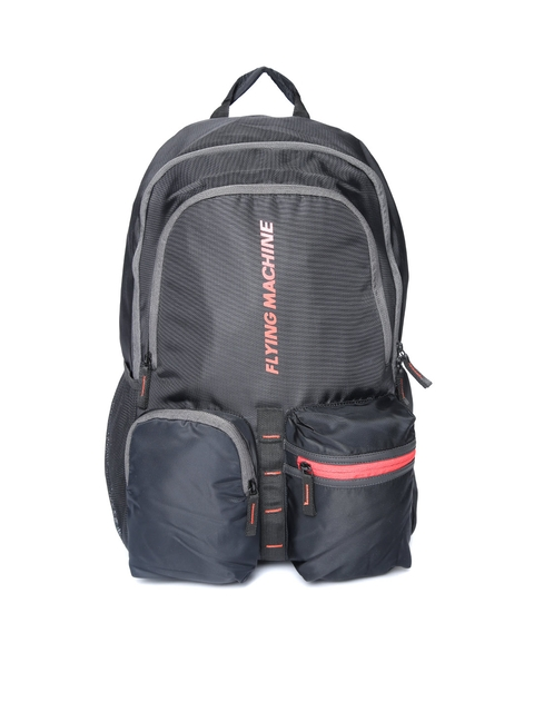 Flying Machine Men Black Solid Backpack